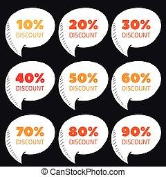 Set of percent discount speech bubble, sale vector illustration
