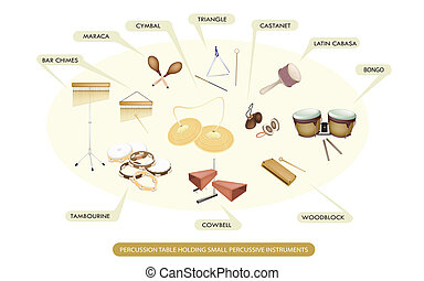 Illustration Collection of Different Sections of Percussion Table Holding Small Percussive Instruments for Symphony Orchestra Concert