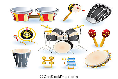 set of percussion instruments - set of percussion...