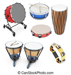 Set of percussion instruments isolated on white background....