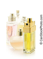 Set of perfumes isolated on white background.