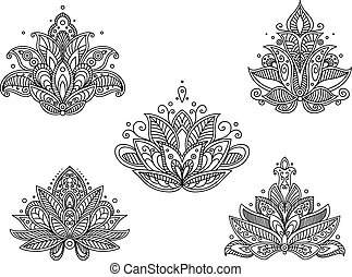 Set of persian paisley flowers in outline sketch style isolated on white background