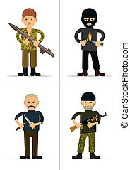 Set of personages. Terrorists and offenders. Vector...