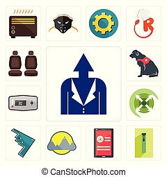 Set of personal development, zipper, login screen, montain, stealth bomber, extend, thermostat, service dog, car seat icons