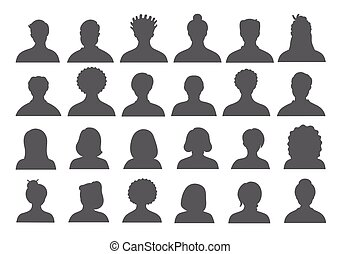 Set of persons, avatars, people heads silhouettes. People faces social network icons collection.