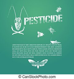 Set of pest insects and template bodycopy vector illustration
