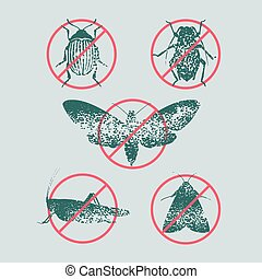 Set of pest insects in prohibition sign vector illustration