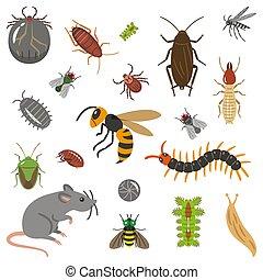 Set of pests and pests illustration