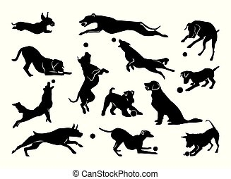 Set of pet silhouettes. Dogs with ball