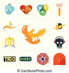 Set of phoenix, psi, dream team, sorry, taksi, skull with headphone, banque, gryphon, electrical contractor icons