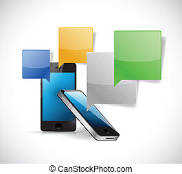 set of phones communication concept illustration