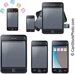 Set of phones with different forms.