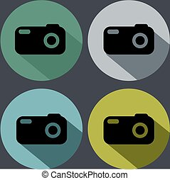 Set of photo camera icons with long shadow