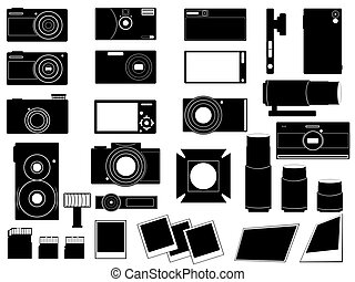 Set of photo cameras and stuff