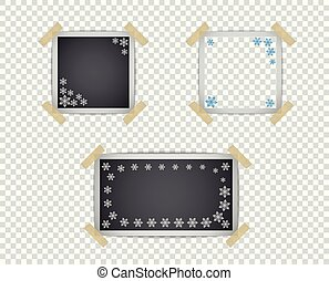 Set of photo frame templates with shadow and snowflake pattern. Vector design element isolated on a transparent background.