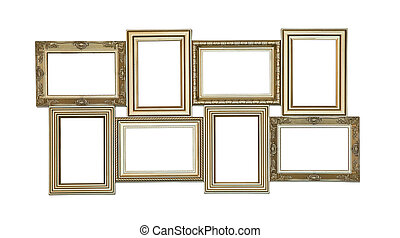 Set of photo frames antique with few blank windows inside...