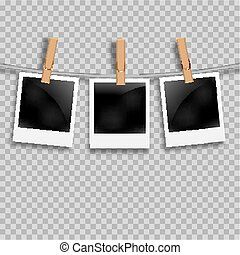 Set of photo frames on the rope with clothespin. Polaroid photo frames set on transparent.