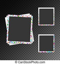 Set of photo frames with bright confetti