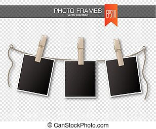 Set of photo frames with clothespin on a transparent background. Vector illustration.