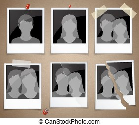 Set of photo frames with silhouettes