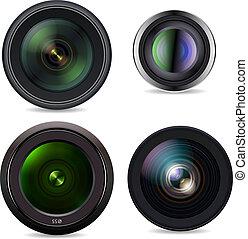 Set of Photo Lens isolated on white background