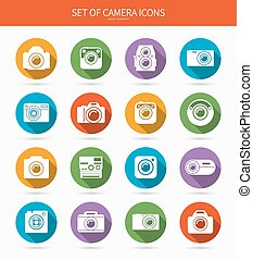 Set of photo or camera icons with long shadows