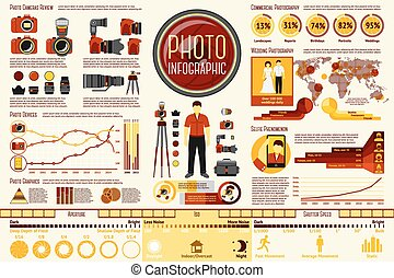 Set of Photographer work Infographic elements with icons, different charts, rates etc. With places for your text. Vector
