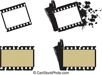Set of photographic film frames, plain and grunge style