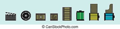 set of photographic film or film stripes cartoon icon design template with various models. vector illustration