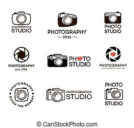 Set of photography and photo studio logo. Stamps, banners and design elements for your business. Vector illustration