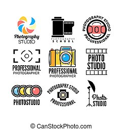 Set of photography and photo studio logo. Vector...