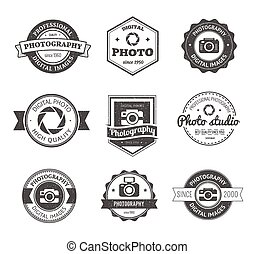 Set of photography studio logos, badges and labels. logotype...