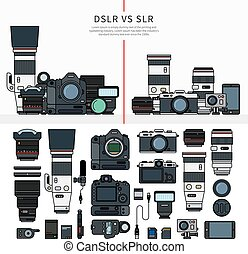 Set of photography tools - Thin line flat design of DSLR and...