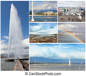 Set of photos with sights of Geneva