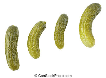 Set of pickled cucumbers of different shapes isolated on a white background, top view. Group of pickles. Cornichons.