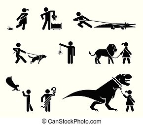 Set of pictograms presenting dangerous pets and their...