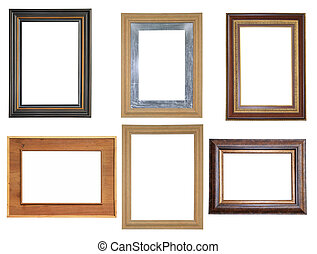 Set of picture frames isolated on white background