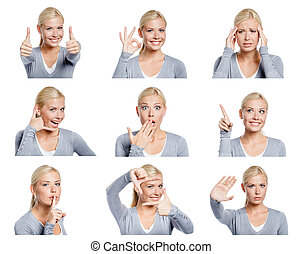 Set of pictures of woman with different gestures and ...