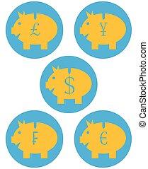 Set of piggy bank color icon