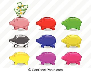 Set of piggy bank vector illustration