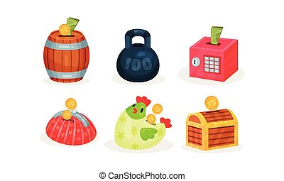 Set of piggy banks in the shape of toys. Vector illustration.