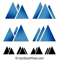 Set of pike, mountain peek symbols for alpine, wintersport...