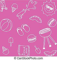Set of piknik doodle art