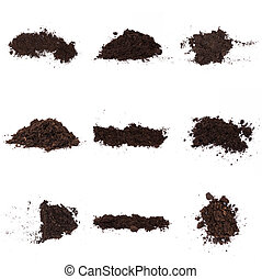 Set of Pile of humus soil isolated on white background