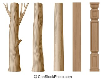 Set of pillars of wood in eco style. The trunk of a tree , a log and carved column. Vector graphics