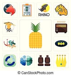 Set of pinapple, crown, car seat, free brain, sector, bat, myth, heater, hoopoe icons