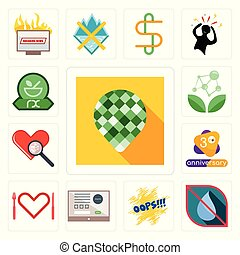 Set of pine cone, no water, oops, online form, appetite, 3rd anniversary, cholesterol, antioxidant, pharmacy icons