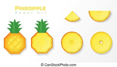Set of pineapples in paper art style