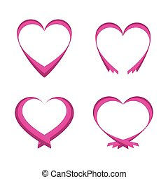 Set of pink abstract hearts isolated on white background