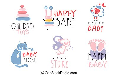 Set of pink and blue labels for the newborn. Vector illustration on a white background.
